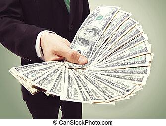 contanti, affari, visualizzazione, uomo, spalmare