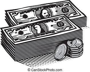 contanti, woodcut