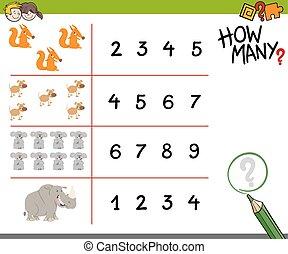 contar, animales, actividad
