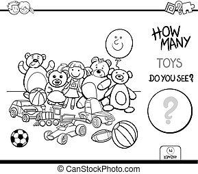 contar, juguetes, educativo, juego, libro colorear