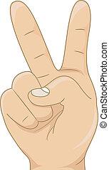 contar, mostrando, número, criança, dois, mão