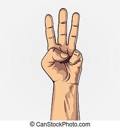 contar, mostrando, três, mão