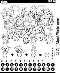 contar, página, tarea, animales, colorido, añadir, libro