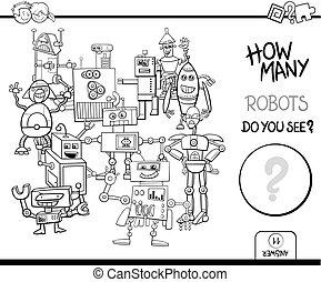 contar, robotes, colorido, página, actividad