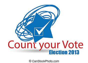 contar, -, seu, eleição, voto, dia