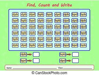 contar, worksheet, achar, crianças, escreva