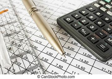 contas, caneta, calculadora