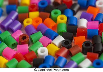 contas, cores, plástico