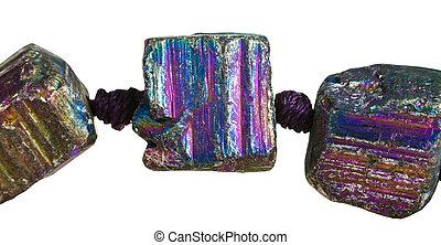 contas, de, arco íris, pyrite, gemstone, cima