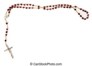 contas rosary, isolado, branco