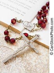 contas rosary, ligado, um, livro, de, salmos