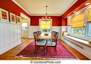 Contast wall dining room interior. - Red and white dining ...
