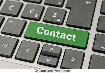 contato, botão, ligado, teclado computador