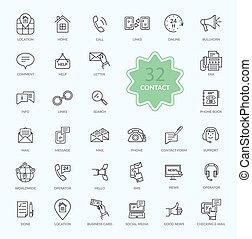 contato, linhas, magra, ícones