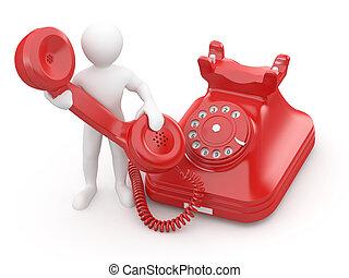 contato, us., homens, com, telefone., 3d