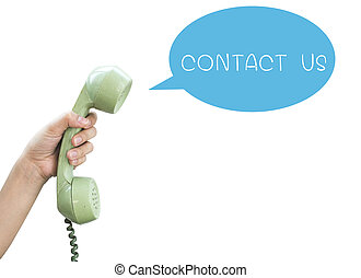 contato, us., mão, ter, vindima, telefone, isolado, branco, backgr