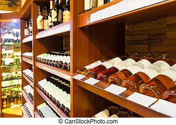 contatore, bevande, supermercato, alcolico