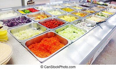 contatore, sbarra, insalata, supermercato
