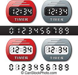 contatore, -, timer, conto alla rovescia, vettore, meccanico