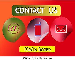 contattarci, con, aiuto