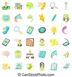 contattarci, icone, set, cartone animato, stile