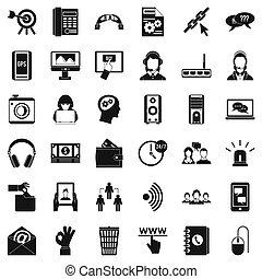 contattarci, icone, set, semplice, stile