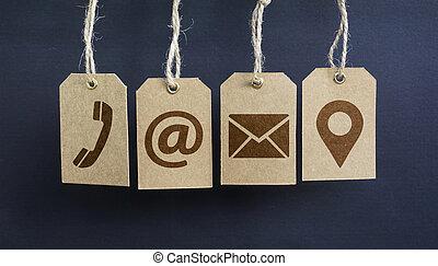 contattarci, icone, su, carta, etichette