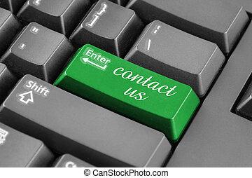 contattarci, su, verde, entrare, bottone