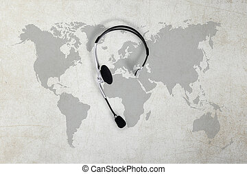 contatto, globale, concetto, vista superiore, cuffia, e, mappa