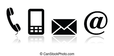 contatto, nero, icone, set