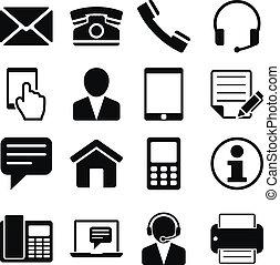 contatto, set, ci, icone