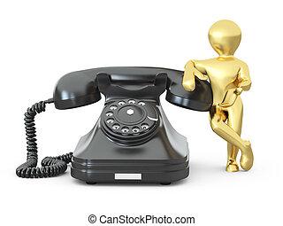 contatto, us., uomini, con, telefono., 3d