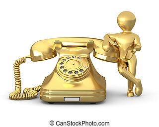 contatto, us., uomo, con, telefono., 3d