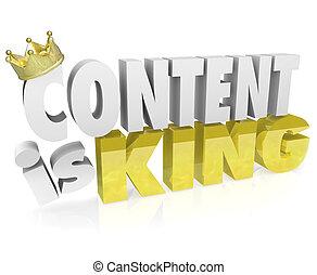 conteúdo, é, rei, citação, dizendo, 3d, letras, coroa,...