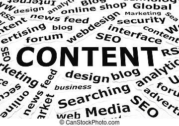 conteúdo, conceito, papel, palavras