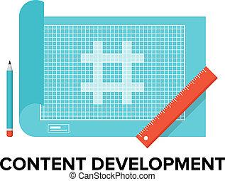 conteúdo, desenvolvimento, apartamento, ilustração