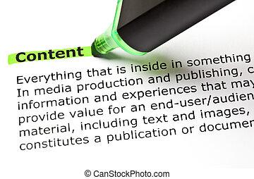 conteúdo, destacado, em, verde