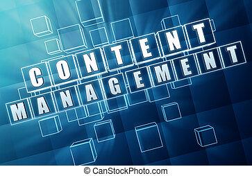 conteúdo, gerência, em, vidro azul, cubos, -, internet,...