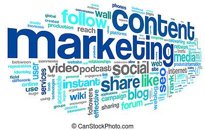 conteúdo, marketing, conept, em, palavra, tag, nuvem