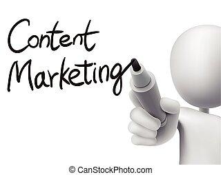 conteúdo, marketing, escrito, por, 3d, homem