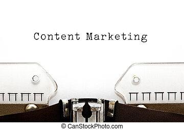 conteúdo, marketing, máquina escrever