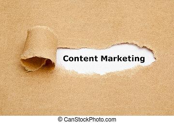 conteúdo, marketing, rasgado, conceito, papel