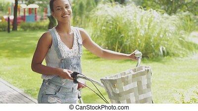 conteúdo, menina, bicicleta, jovem