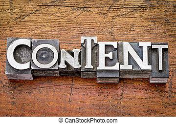 conteúdo, palavra, em, metal, tipo