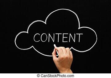 conteúdo, quadro-negro, conceito, nuvem