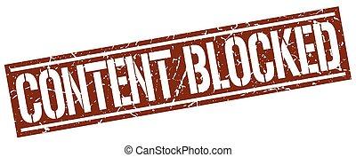 conteúdo, selo, quadrado, grunge, bloqueado