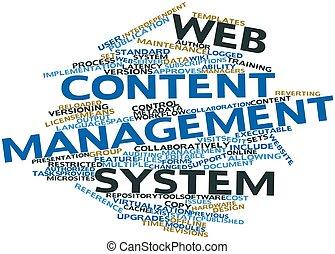conteúdo, teia, gerência, sistema