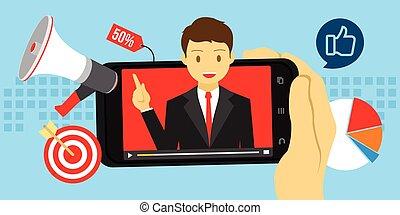 conteúdo, viral, vídeo, anunciando, marketing