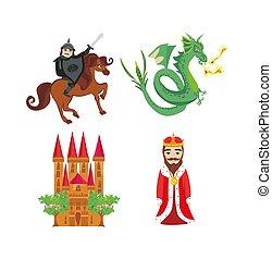 conte, élément, ensemble, fée, icônes