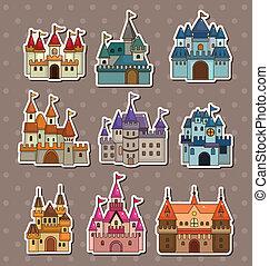 conte, château, autocollants, fée, dessin animé